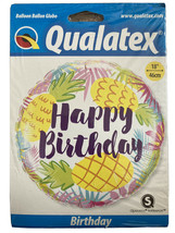 Happy Birthday Pineapples 18 Inch Foil Balloon Party Supply Uk Fast Postage - $3.64