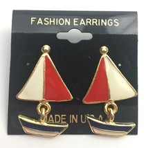 Vintage Nautical Enamel Pierced Dangle Earrings Sailboat Figural Red Whi... - $14.80