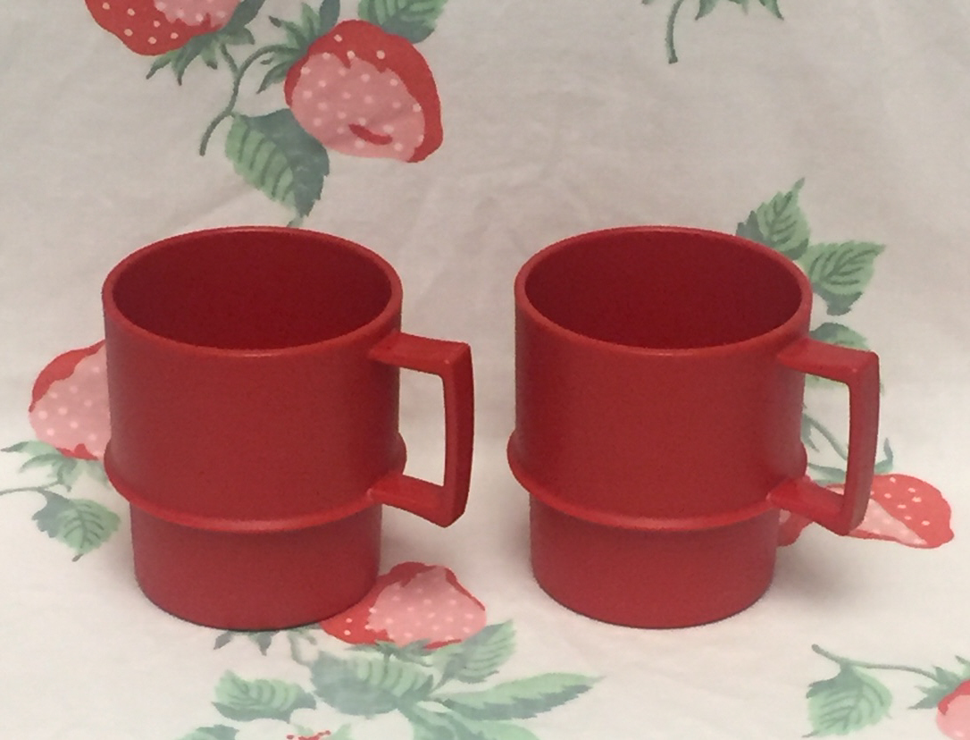 vintage tupperware coffee cups solid red set and 50 similar items
