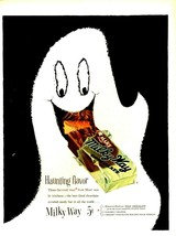 Original 1954 Mars Milky Way Chocolate Bar Ghost  Haunting Flavor Print Ad  - $9.49