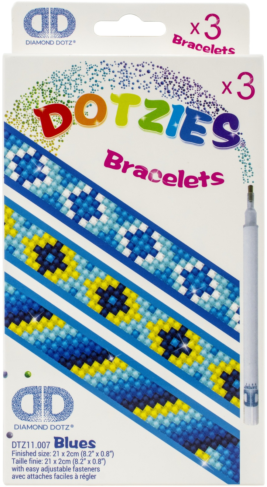 "Primary image for Diamond Dotz DOTZIES Bracelets Facet Art Kit 1""X9""-Assorted Blues 3/Pkg"