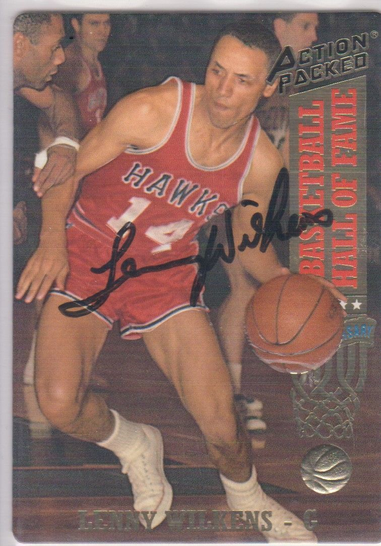 Lenny Wilkens Signed Autographed 1993 Action Packed Basketball Card - Atlanta Ha