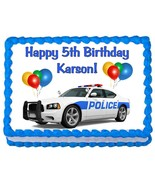 Police Car party edible cake topper frosting sheet - $7.80