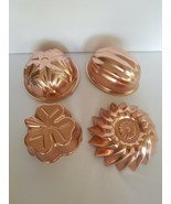 Vintage Copper Jello Mold Wall Hangings, Fluted Set Of 4 - $17.52