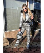 New Metallic Silver Snowsuit Ski Suit Sport Overall Women Men Female Mal... - $270.00