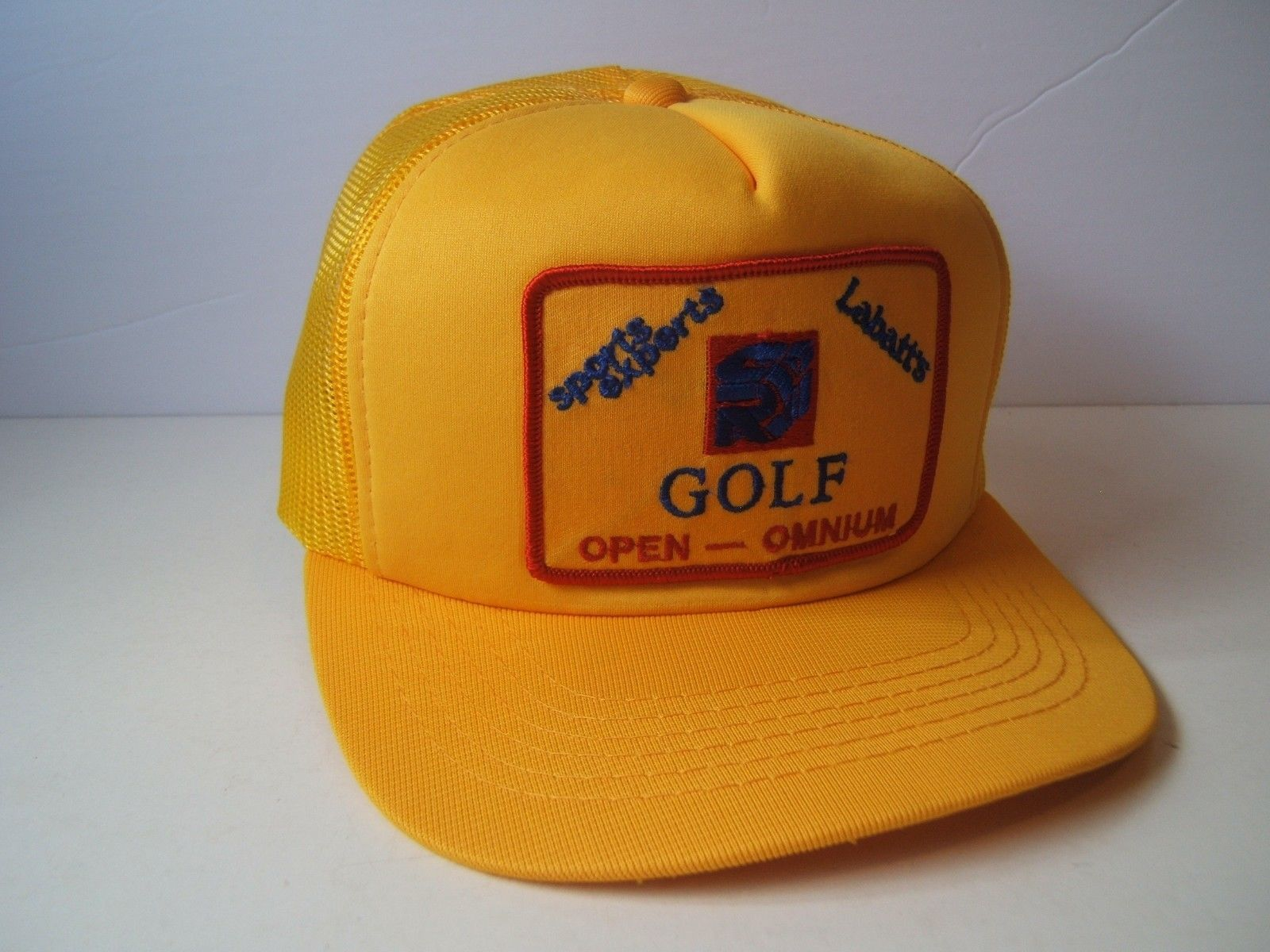 Primary image for Labatt's Sports Experts Golf Open Patch Hat Vintage Yellow Snapback Trucker Cap