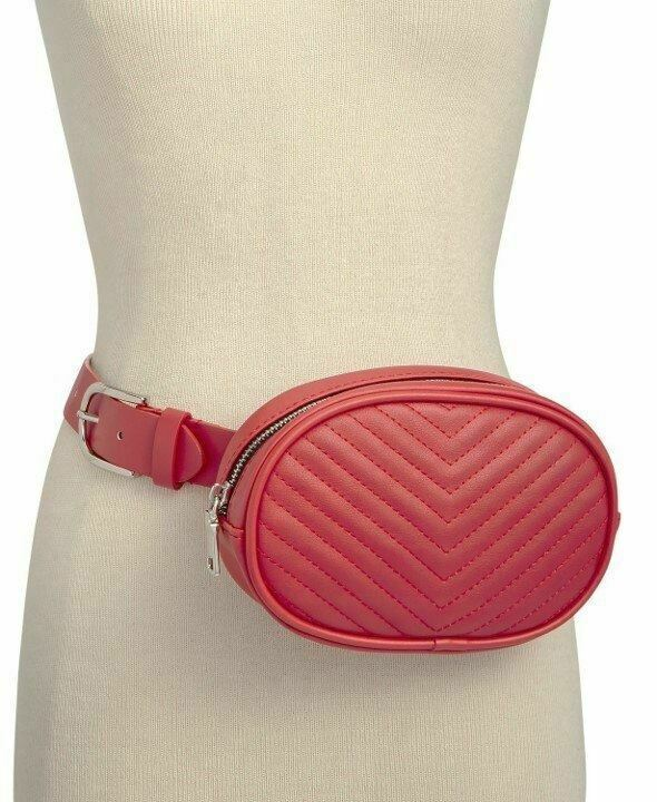 Steve Madden Chevron Quilted Fanny Pack Belt, Large, Red - $25.00