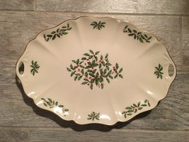 """Lenox Holiday Dimension 16"""" Oval Scalloped Pierced Handle Serving Platte... - $135.00"""