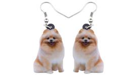 """Tan Pomeranian Dog 1"""" Drop Dangle Acrylic Earrings Very Light Weight  Gi... - $12.86"""