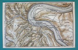 1884 MAP Baedeker - GERMANY Boppart & St. Goar Rhine River - $5.85