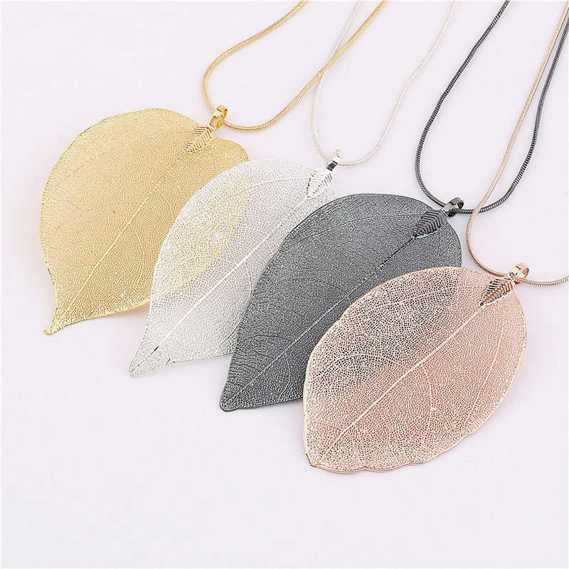 v Fashion Jewelry Maxi xRose Gold Color Chain Real Leaf Charm Design