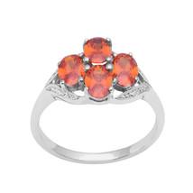 Orange Cubic Zircon Gemstone 925 Sterling Silver Cluster Statement Ring ... - $12.67