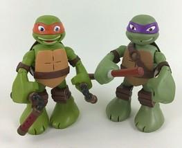 Teenage Mutant Ninja Turtles Talking Figures 2pc Lot Michelangelo Donate... - $29.65