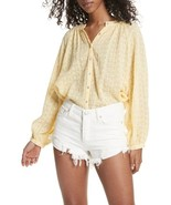 Free People Down From The Clouds Blouse Yellow Mult Sz - $64.99