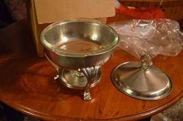 F.B. Rogers Silver Co. Warmer Stand w Anchor Hocking 2 qt clear glass bowl NIB  - $39.60