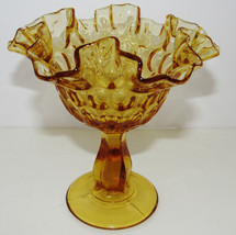 "Compote Stemmed Fenton Gold Amber Ruffled Edge Thumbprint Candy Nut Bowl 6.5"" - $12.86"