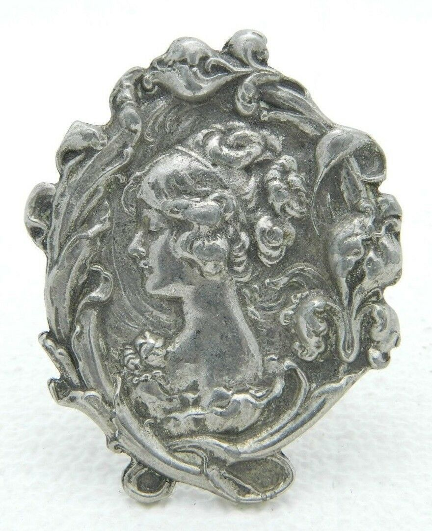Repousse Cameo Brooch Scroll Floral Work Signed HNO Cast Pewter