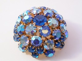 Warner Blue Aurora Borealis Rhinestone Dome Shape Brooch Pin - $33.25
