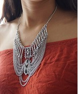 Aztec Inspired Layered Chains Necklace, Dramatic Chains Necklace, Silver... - $17.82