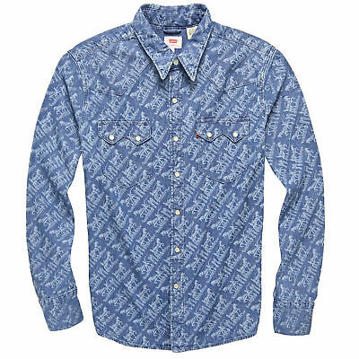 Levi's Men's Classic Casual Denim Printed Sawtooth Western Shirt