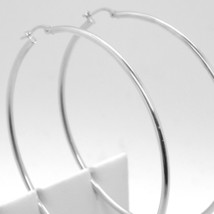 18K WHITE GOLD ROUND CIRCLE EARRINGS DIAMETER 50 MM, WIDTH 2 MM, MADE IN ITALY image 1