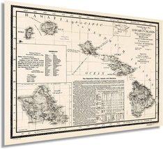 1893 Map of Hawaii - Vintage Map of Hawaiian Islands Wall Art - Hawaii Vintage M - $34.99+