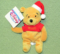 "Disney Store 8"" Santa Claus Pooh B EAN Bag With Tag Christmas Hat Stuffed Animal - $11.88"