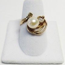 Vintage Antique 14K 14KT Yellow Gold Pearl Size 6 3/4 Ring 585 MG 4.1 Grams - $148.50