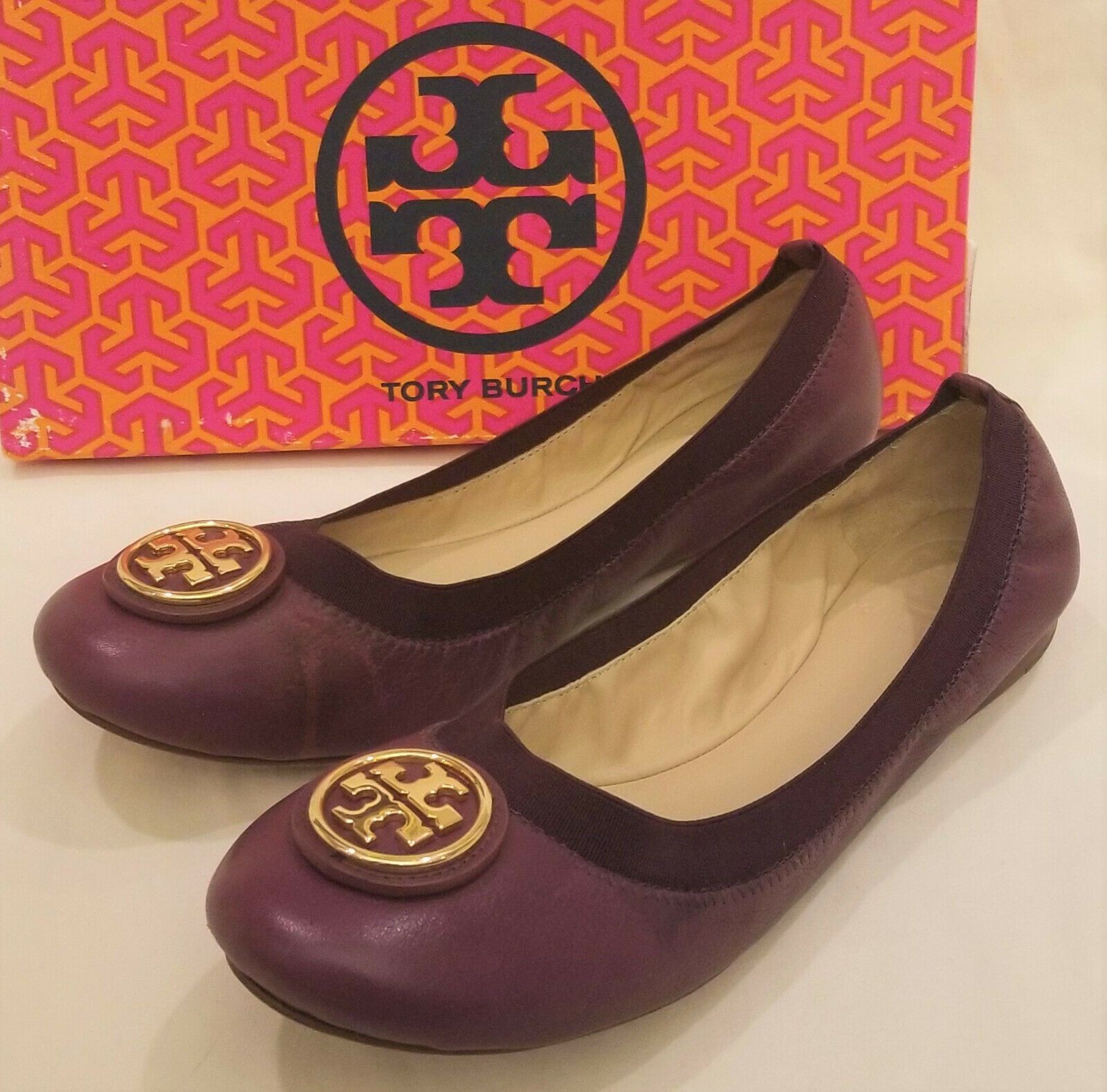 Tory Burch Comfort Flats Sz- 9.5M Gold Metal Tory Burch Accent Leather Wild Plum