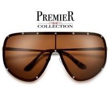 HUGE XL OVERSIZE VINTAGE SHIELD Style SUNGLASSES Gold Frame Brown Polari... - $13.58