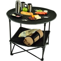 Outdoor Folding Table Camping 4 Cup Holders Foldable Picninc Eating Pati... - $53.53
