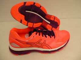 Asics womens gel nimbus 19 running shoes flash coral dark purple white s... - $118.75