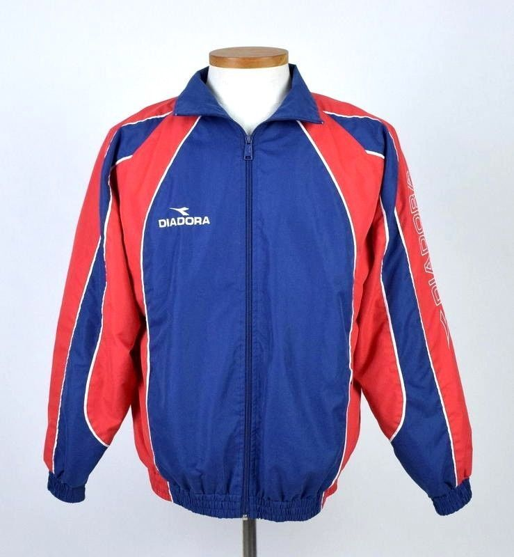 Primary image for Diadora Blue Red Bomber Jacket Athletic Running Lightweight Zip Up Mens Size S