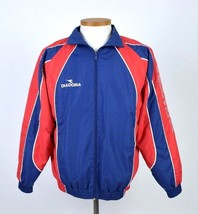 Diadora Blue Red Bomber Jacket Athletic Running Lightweight Zip Up Mens ... - $29.69