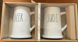 Rae Dunn Beer and Suds Steins Mugs Pint Size 2020 White Christmas New Rare - $29.96