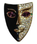 Thespian Jewelry Drama Mask Lapel Pin Amethyst Eyes Crystals  - $24.99