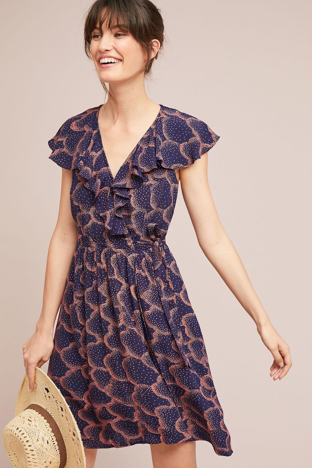 NWT ANTHROPOLOGIE ROSALIA NAVY WRAP DRESS by MAEVE 6