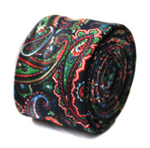 Frederick Thomas black and multicoloured paisley wool linen tie FT1649