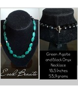Green Agate and Black Onyx Necklace - New - $20.00