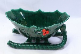 """Lefton Holly Berry Sleigh Candy Dish Large 10.5"""" - $48.99"""