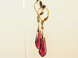 Swarovski Crystal Earrings/Amethyst /made w/Swarovski Elements /14k Gold... - $26.95+