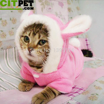 Warm Hooded Coat Fleece Rabbit Outfit Clothing for Cats - $13.46+