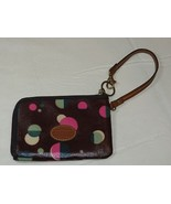 Fossil Wristlet zip around wallet card id coin Wine with Dots Pre-owned *^ - $34.64