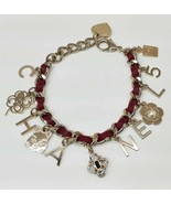 CHANEL Cat Charm Icon Breath 22cm Red Gold Leather Chain Bangle - $1,107.90