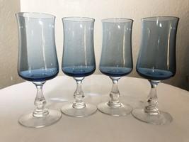 """Vintage Fostoria Distinction Light Blue Wine Goblet Juice Glasses 6.25"""" ... - $41.00"""