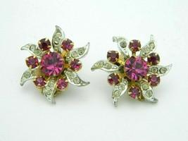 Purple Clear Rhinestone Dual Tone Silver Gold Flower Vintage Clip Earrings - $19.79