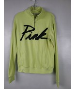 Victorias Secret Pink Womens Sweatshirt Size XS Lime Green 1/2 Zip Pullo... - $32.88