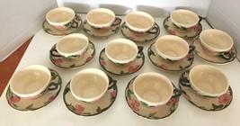 Franciscan Desert Rose Gladding McBean California England 12 Cups Saucers  - $28.05