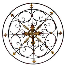 "Large Wrought Iron Wall Plaque Wall Grille D36.5"" - 85650 - $69.29"
