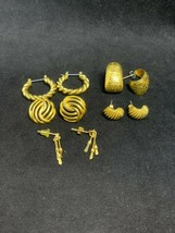 Lot of 5 Pair of Gold Tone Pierced Earrings (2122) - $10.00